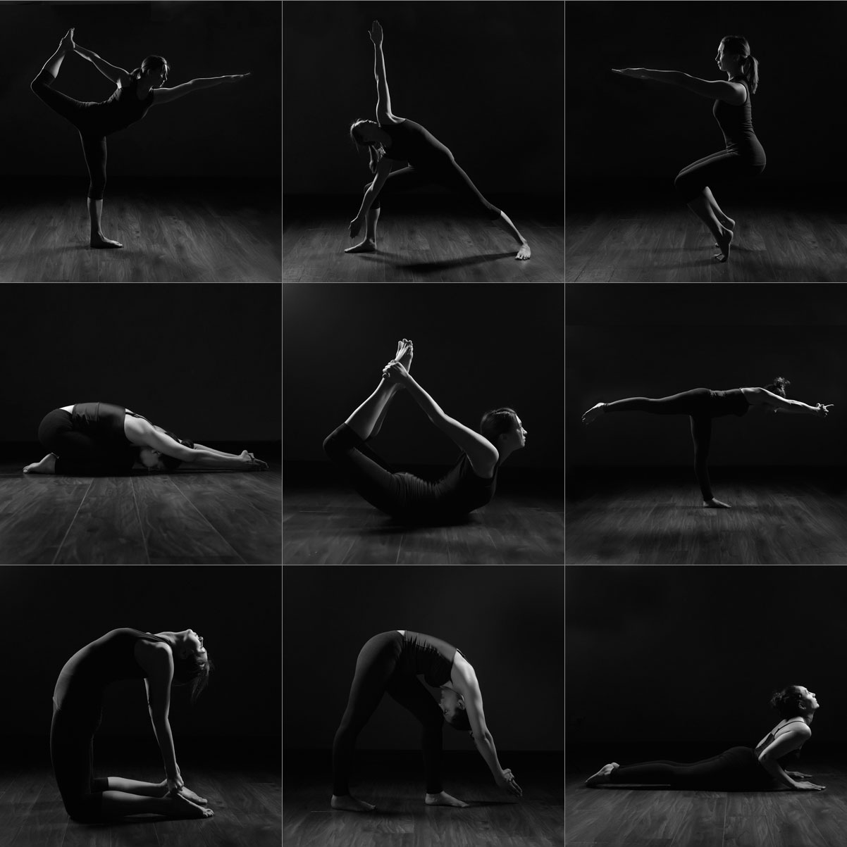Yoga poses elegant black white photos of indee hot yoga students makeover photoshoots by mikaela morgan photography